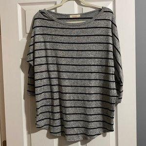 Pomelo Black & Gray 3/4 Dolman Sleeve Striped Top